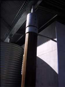 Ironbark and gal steel columns