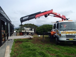A crane was needed for the stand